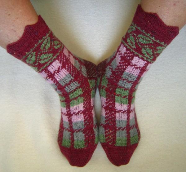 Socken Blätterkaro