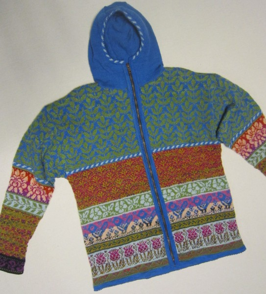 Fair Isle Cardigan Strickjacke mit Kapuze