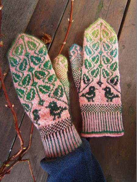 Fäustel Handschuhe 'Birds in the leaves'