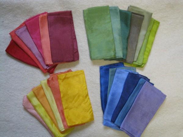 Seidentücher 55x55cm pflanzengefärbt 5er Pack Farbsortiment