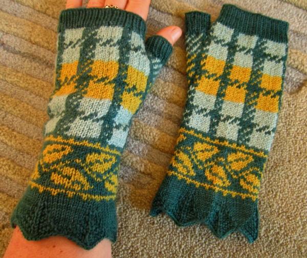 Fingerlose Handschuhe Blätterkaro