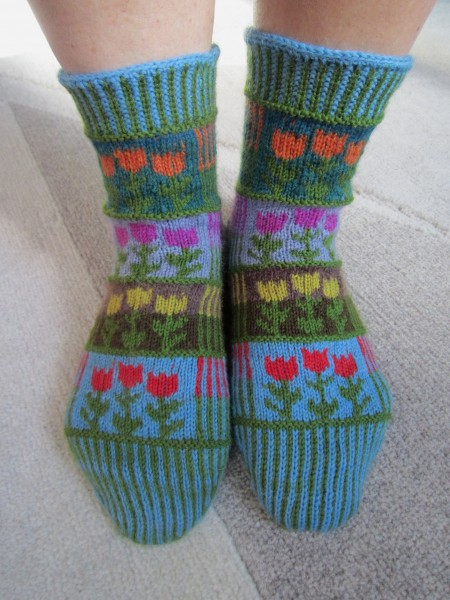 "Socken Wollsocken "" Stripes & Tulips"""